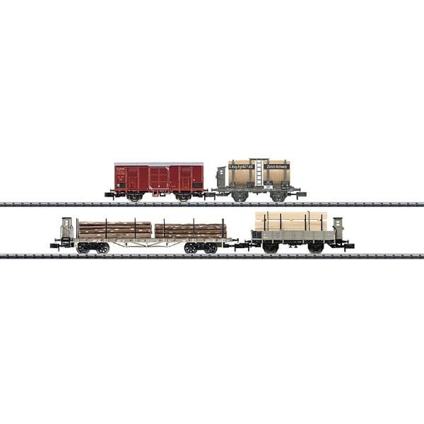 SBB Güterwagenset mit 4 unterschiedlichen Güterwagen der Epoche III