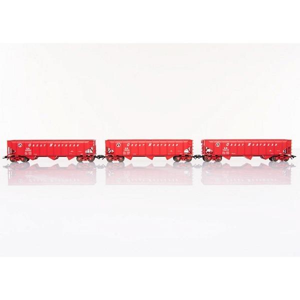3 Trichterwagen (Hopper Car) Bauart 40 Fuß der US-Bahngesellschaft Great Northe
