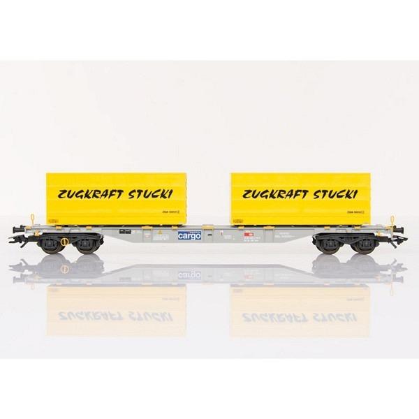 """SBB Container-Tragwagen, beladen mit 2 Containern """"ZUGKRAFT STUCKI"""""""