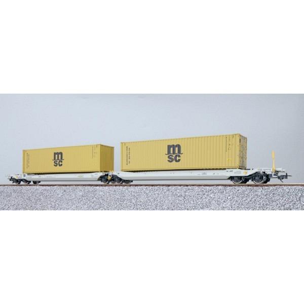 TaschenwagenH0, Sdggmrs, 37 84 499 3 176-5, NL-AAEC, Container MEDU 800650 + ME