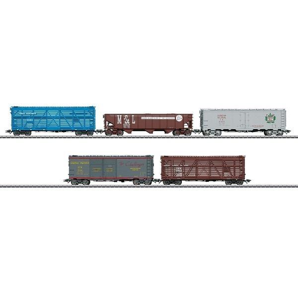 US Güterwagenset mit 5 unterschiedlichen Wagen mehrerer amerikanischer Bahnverw